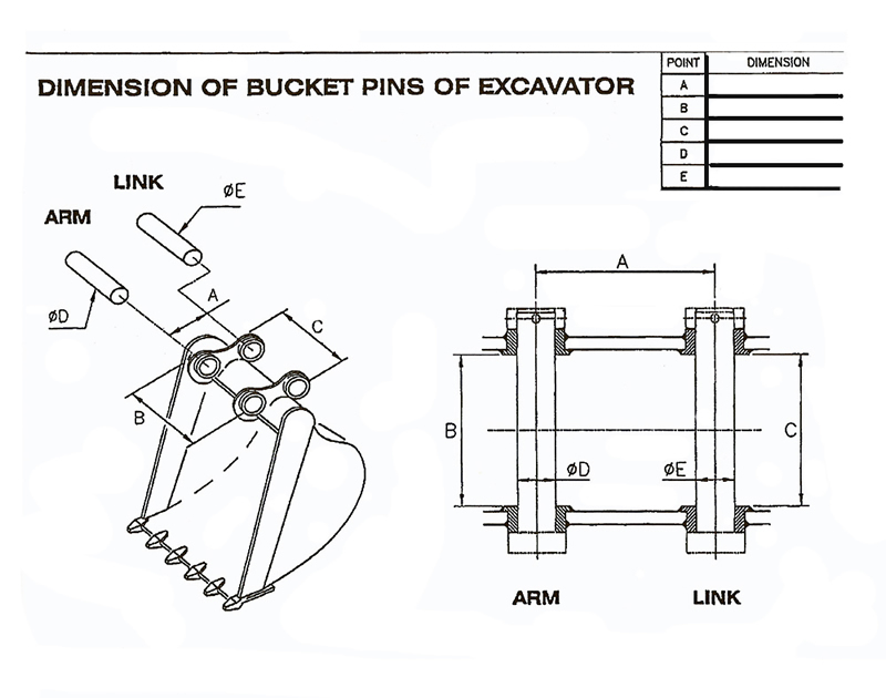 Excavator Bucket Pins Dimension Form