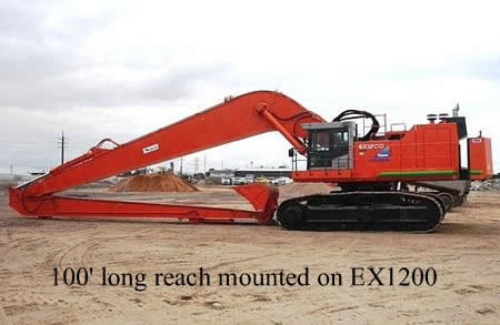 100' long reach mounted on Hitachi EX1200